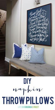 DIY Napkin Throw Pillow Tutorial - Life On Virginia Street
