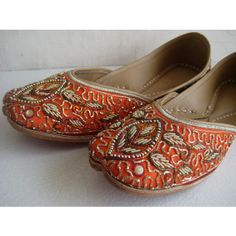 Sequin Bridal Ballet Flats/Wedding Shoes/Satin Shoes/Orange Shoes/Handmade Indian Designer Shoes/Maharaja Style Women Jooties