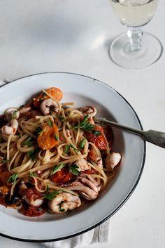 Roasted tomato & chili calamari linguini - Simply Delicious— Simply Delicious