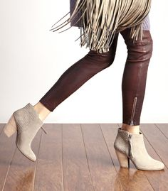 Neutral suede booties by Sole Society