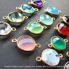 17mm (Stone 10mm) Gold Bezel Gemstone Wrapped Connector 2 loops F391- 10 pcs Choose your color on Etsy, $49.95
