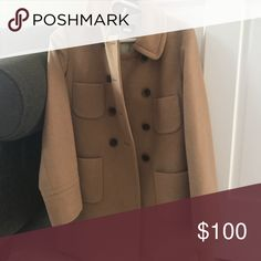 J. Crew camel peacoat with brown buttons This warm peacoat is camel in color with chocolate buttons. It's super stylish, but is now too small for me :(. Hoping it can go to a great home! J. Crew Jackets & Coats Pea Coats