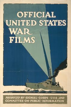 World War 1 Poster showing a battleship with searchlights flaring.