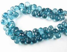 Huge Speckled Teal London Blue Quartz Faceted Teardrop Gemstone Beads 13mm - 14mm (4 gems beads)