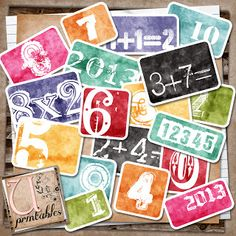 FREE Printable - Number Cards  There are 18 different cards and they have an inked/distressed look to them.