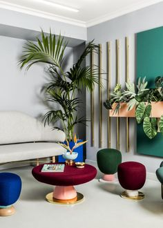 13 Chic & Modern Ways to Decorate with Color | Jewel tone stools @stylecaster