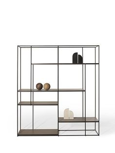 Utmost simplicity and a stunning silhouette characterize the Hill bookcase, whose airy metal shelves seem almost to float in mid-air. Rustic Furniture, Modern Furniture, Home Furniture, Furniture Design, Scandinavian Furniture, Furniture Removal, Furniture Makeover, Antique Furniture, Bedroom Furniture