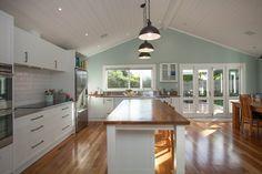 Native timber floors and kitchen island   1900's Villa Renovation   Cambridge, New Zealand