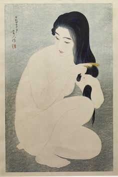 """""""Kamisuki (Combing Her Hair)"""" by Torii Kotondo, embossed, lithography, Japan, 1929."""