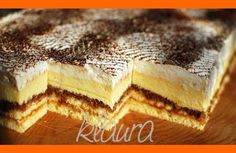 Fajné Rumové rezy Hungarian Recipes, Russian Recipes, Czech Recipes, Ethnic Recipes, Czech Desserts, Wonderful Recipe, Dessert Bars, Baked Goods, Baking Recipes