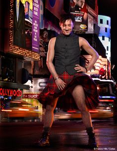 Actor Allan Cumming has always loved his kilt and this recent picture of him in Times Square wearing the Cumming Clan Modern tartan with a fitted black waistcoat and a pair of DM's gives the kilt a modern twist.  The star, who was honoured in 2009 for services to film, theatre and the arts and for his work as a gay rights campaigner, famously wore a kilt in the Hunting Cumming pattern for the royal occasion, along with matching jacket and waistcoat. Very smart!