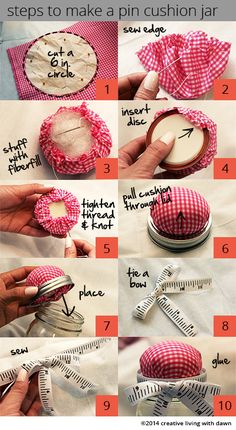 I was walking around Joann's and found this DIY takeaway on how to make pin cushions using jars. But I was a little disappointed because it didn't explain how to make the actual pin cus…
