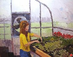 """Madonna of the Greenhouse by Roxanne Steed Oil ~ 11"""" x 14"""""""