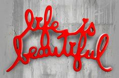 Life is Beautiful red Typography Letters, Lettering, Modern Art, Contemporary Art, Mr Brainwash, Wallpaper Backgrounds, Wallpapers, Urban Graffiti, Street Artists