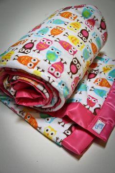 Owl Blanket  Minky Lap Blanket in Hoot Owl Retro by claireandjanae on Etsy