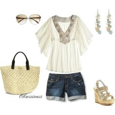 Casual Friday is finally here! Blue shorts paired with a white embellished top and jute accessories - ultra chic we say!