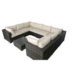 Creative Living South Hampton 9 Piece Wicker Sectional Seating Group with Cushions