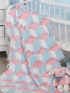 Babies & Kids Quilt - Baby Quilt Patterns - Tumbling Blocks Raggy Quilt