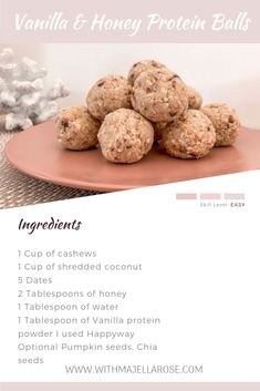 Quick and Easy No Bake Vanilla Honey Bliss Balls Love Food, A Food, Low Calorie Recipes, Healthy Recipes, Vegan Recipes Plant Based, Bliss Balls, Vanilla Protein Powder, Protein Ball, Shredded Coconut