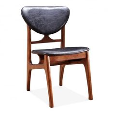 Cabin Vintage Dining Chair | Solid Ash Wood & Black Faux Leather