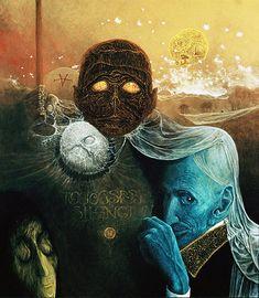 Surreal painting by Zdzislaw Beksinski Mark Riddick, Creepy Paintings, Dark Images, Surrealism Painting, Arte Horror, Art For Art Sake, Fantastic Art, Dark Art, Les Oeuvres