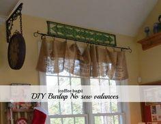 DIY Tutorial DIY Burlap Crafts / DIY no sew burlap kitchen valances.made from Coffee bags! No Sew Valance, Burlap Valance, Diy Curtains, Burlap Wreath, Burlap Projects, Burlap Crafts, Cool Diy Projects, Diy Crafts, Design Projects