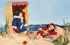 AK-Postkarte-Puppenkarte-Strand-Strandkorb-DDR-Spielzeug-Kaethe-Kruse