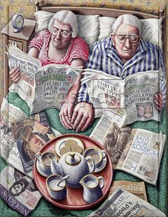 Sunday Morning Tea (Reading in Bed) Giclee Print at AllPosters by P. Vieux Couples, Old Couples, Sunday Readings, Image Digital, Images Gif, Growing Old Together, The Golden Years, Reading In Bed, Illustration