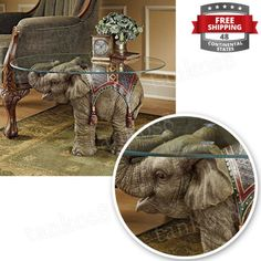 Wonderful-Glass-Top-Coffee-Table-Elephant-Accent-Statue-Hand-cast-Using-Home-New