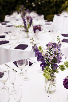 mason jar vase, purple and green wedding, Franciscan Gardens, George Street Photography, www.agoodaffair.com