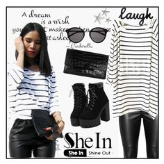 """http://www.shein.com/White-Black-Striped-Loose-T-Shirt-p-158376-cat-1738.html"" by galpaian-elisa ❤ liked on Polyvore featuring Vince, Yves Saint Laurent, women's clothing, women, female, woman, misses and juniors"