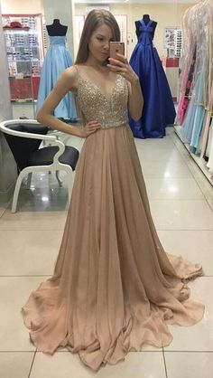 Sexy A-Line prom Dress,Cheap Prom Dress,V-Neck Champagne Prom #prom #promdress #dress #eveningdress #evening #fashion #love #shopping #art #dress #women #mermaid #SEXY #SexyGirl #PromDresse