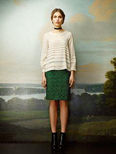 RUTZOU Frill Dress Green Blouse b7d1bf227