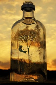Surreal by chephotog, life in a bottle, clouds, sunset, panorama, fantasy, inspirational, child, swing, gynge, imaginative, art