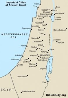 Map of important ancient Israel cities
