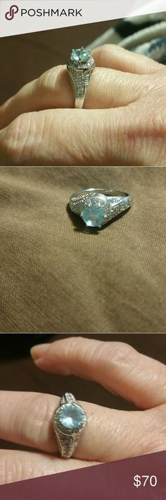 Beautiful aquamarine  ring Sterling silver Jewelry Rings