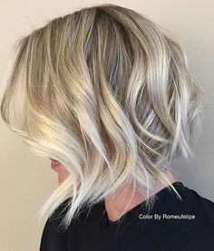 50 Most Delightful Short Wavy Hairstyles Medium Hair Styles, Short Hair Styles, Purple Hair Highlights, Balayage Hair Blonde, Balayage Bob, Short Wavy Hair, Thick Hair, Hair Color Dark, Textured Hair