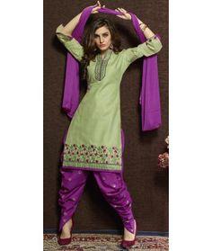 Ideal Green Cotton Patiala Suit With Dupatta. Lehenga Style Saree, Net Saree, Georgette Sarees, Lehenga Choli, Salwar Kameez Online, Patiala Salwar, Anarkali Suits, Cotton Suit, Cotton Saree