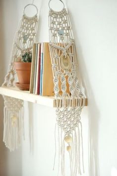 Macrame wall hangings for bookshelf decor | Girlfriend is Better