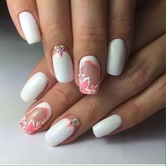Beautiful white nails, Drawings on nails, Evening nails, Festive nails, Nails…