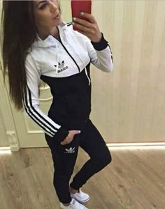 jumpsuit black and white adidas tracksuit adidas originals jacket sweater addias sweater leggings girl shirt nike coat adidas jacket adidas tracksuit bottom track and field black white hoodie adidas tracksuit adidas sweater cardigan Sporty Outfits, Mode Outfits, Fall Outfits, Summer Outfits, Adidas Jumpsuit, Adidas Outfit, Adidas Shoes, Jumpsuit Outfit, Shoes Sneakers