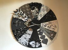 Mixed media clock; theme: skulls