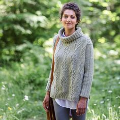 "Delicate cable leaves and thick ribbing make for a casual turtleneck pullover. Birch Bay also has fresh details like a split hem and ribbed sleeves. SIZING: 49 (52½ 56½, 60, 63, 67)"" bust circumferenc"