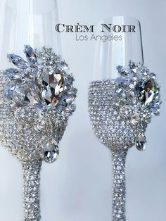 Gatsby-Inspired Crystal Encrusted Wedding Champagne Toasting Flutes/Glasses (Style - Audrey)
