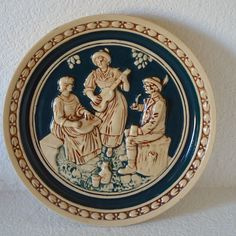Antique German Majolica Plate -Stein Style-Germany Cabinet Plate, Musicians