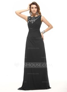 A-Line/Princess Scoop Neck Floor-Length Chiffon Evening Dress With Ruffle Lace Beading (017016053)