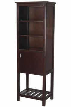 "Fraser Linen Storage Cabinet, 60""Hx20""W, ESPRESSO by Home Decorators Collection. $469.00. 60""H x 20""W x 14""D.. Our Fraser Linen Cabinet will give your bathroom a fresh, updated look while adding bold and minimalist details. Boasting a slatted bottom shelf, a cabinet and three open shelves, the cabinet is a chic way to store towels, toiletries, and makeup in or out of sight. Add it to your bathroom today. Sleek design complements transitional to modern home decor. Beau..."