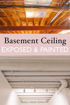 Learn how you can quickly paint your basement ceilings white with exposed beams. If you want that unfinished ceiling, here are some tips and tricks on getting your basement ceiling painted white. Exposed Beams, Low Ceiling Basement, Diy Basement, Exposed Basement Ceiling, Basement Bedrooms, Basement Decor, Basement Ceiling, Basement Laundry Room, Basement Windows