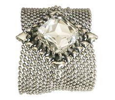 SG Liquid Metal Silver Mesh Cuff Bracelet With Crystal By Sergio Gutierrez