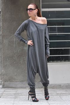 New Colection-Extra Long Sleeves Grey Jumpsuit / by EUGfashion